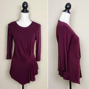 VINCE CAMUTO Top, Maroon Ribbed Ruched Career, S